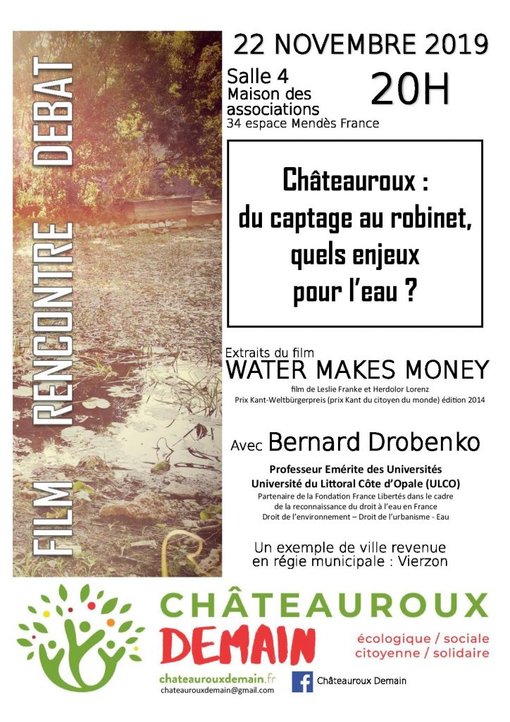 """Film / Débat """"Châteauroux : du captage au robinet, quels enjeux pour l'eau ?"""" 1"""