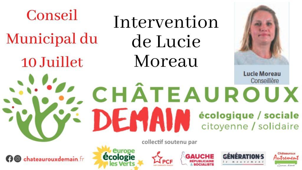 Intervention de Lucie Moreau lors du conseil municipal du 10 Juillet