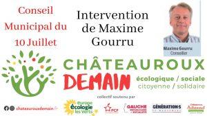 Intervention de Maxime Gourru lors du conseil municipal du 10 Juillet