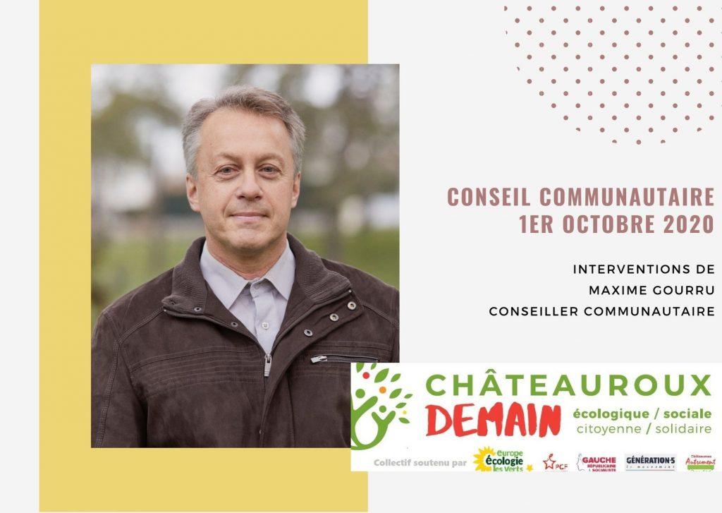 Les interventions de Maxime Gourru lors du conseil communautaire du 1er octobre