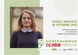 Les interventions de Lucie Moreau lors du conseil municipal du 30 septembre