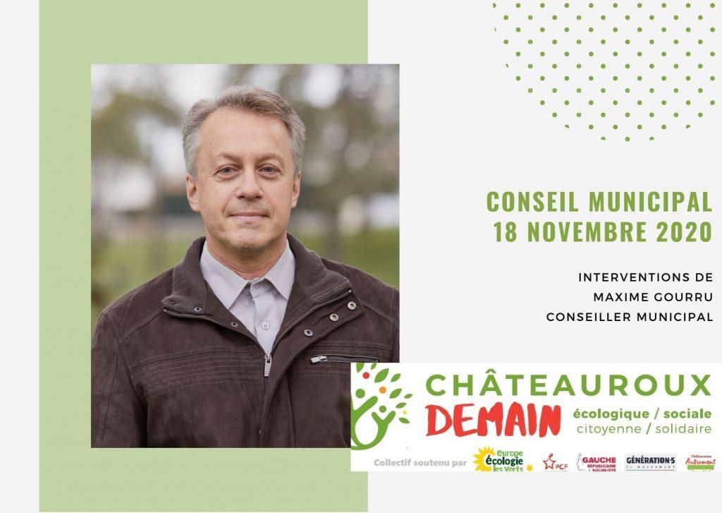 Les interventions de Maxime Gourru lors du conseil municipal du 18 novembre 2020