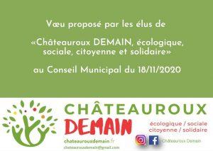 Voeu proposé par les élus de Châteauroux Demain au conseil municipal du 18/11/2020