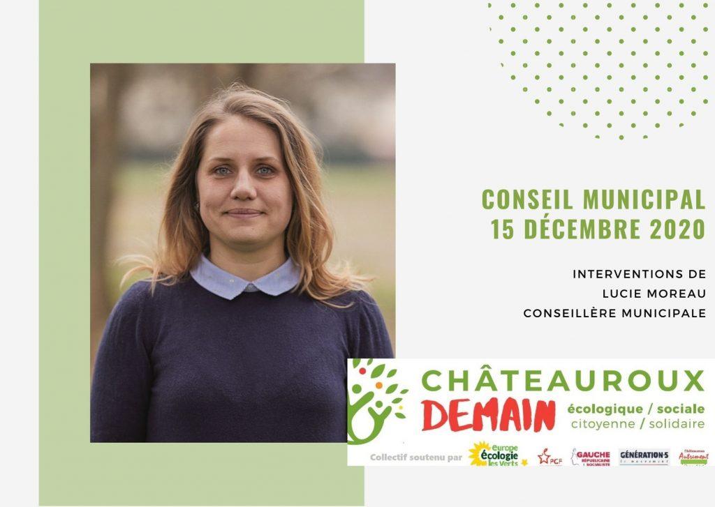 Les interventions de Lucie Moreau lors du conseil municipal du 15 décembre 2020