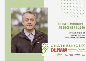 Les interventions de Maxime Gourru lors du conseil municipal du 15 décembre 2020