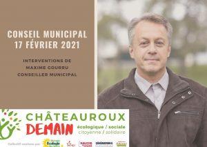 Les interventions de Maxime Gourru lors du conseil municipal du 17 févier 2021
