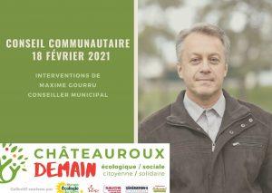 Les interventions de Maxime Gourru lors du conseil communautaire du 18 février 2021