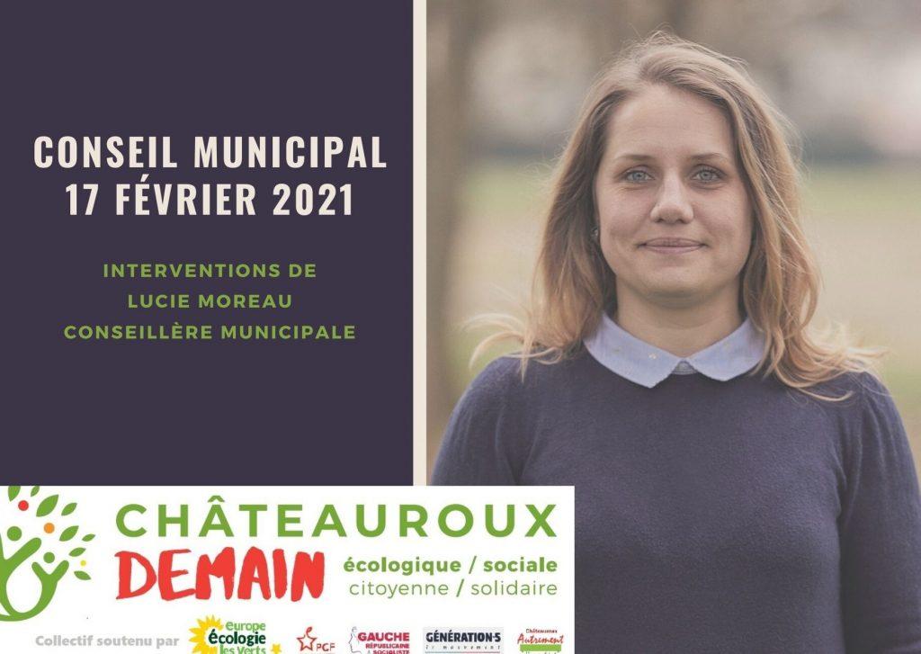 Les interventions de Lucie Moreau lors du conseil municipal du 17 février 2021
