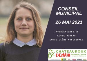 Interventions de Lucie Moreau au conseil municipal du 26 mai 2021