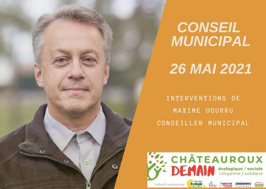 Les interventions de Maxime Gourru au conseil municipal du 26 mai 2021