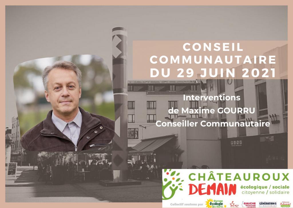 Interventions de Maxime Gourru au conseil communautaire du 29 juin 2021