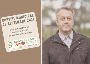 Interventions de Maxime Gourru au conseil municipal du 29 septembre 2021