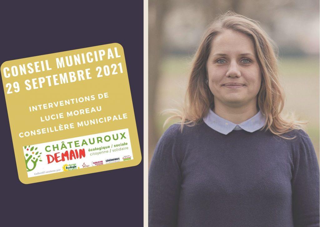 Interventions de Lucie Moreau au conseil municipal du 29 septembre 2021 1