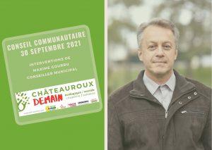 Intervention de Maxime Gourru au conseil communautaire du 30 septembre 2021